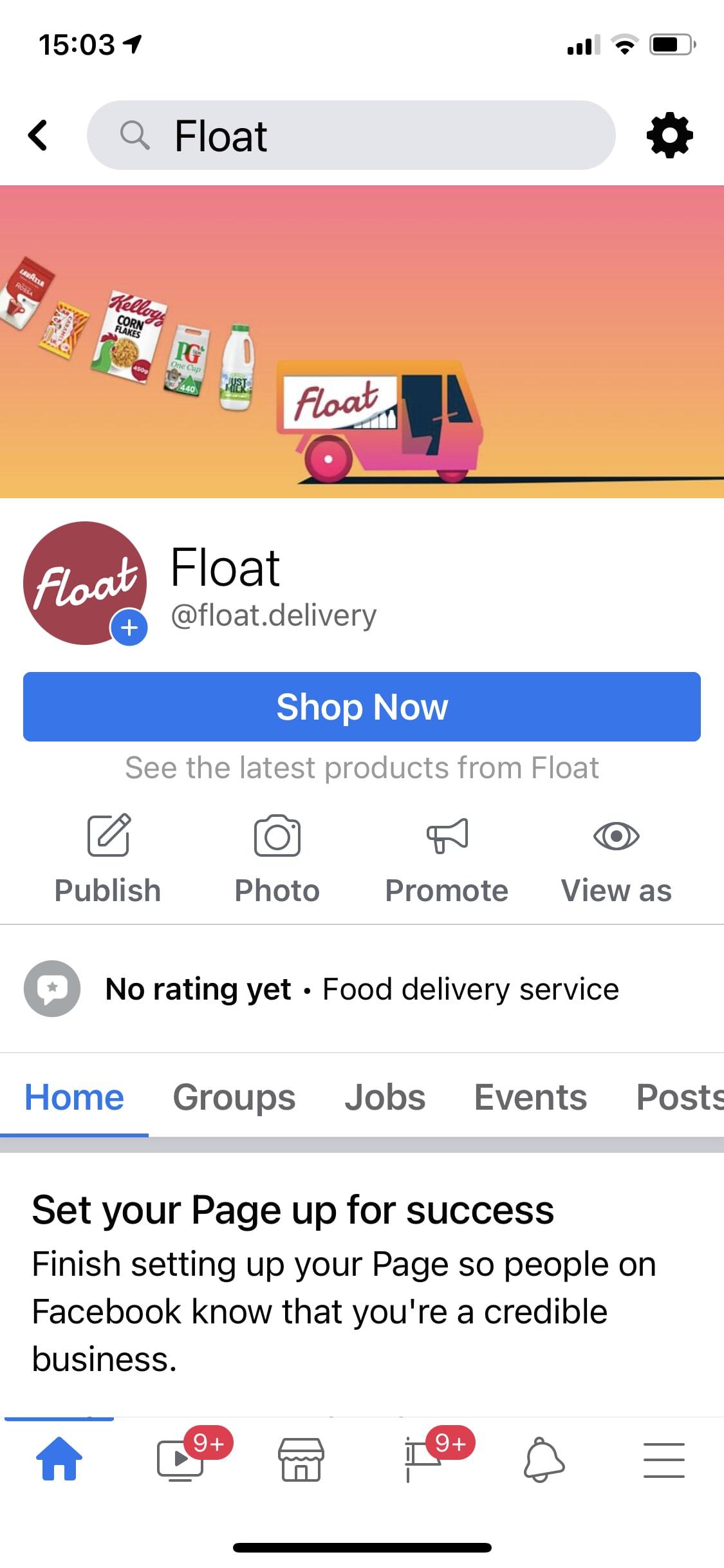 Float on Facebook